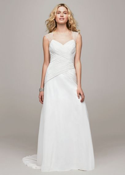 Chiffon A Line Gown with Beaded Cap Sleeve Detail AI10043132