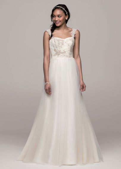 Tank Tulle A-Line Wedding Dress with Lace Details AI10043137