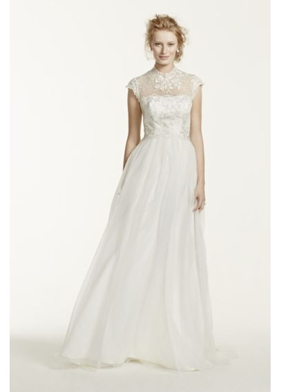 As-Is Tulle A Line Wedding Dress with High Neck AI10043145