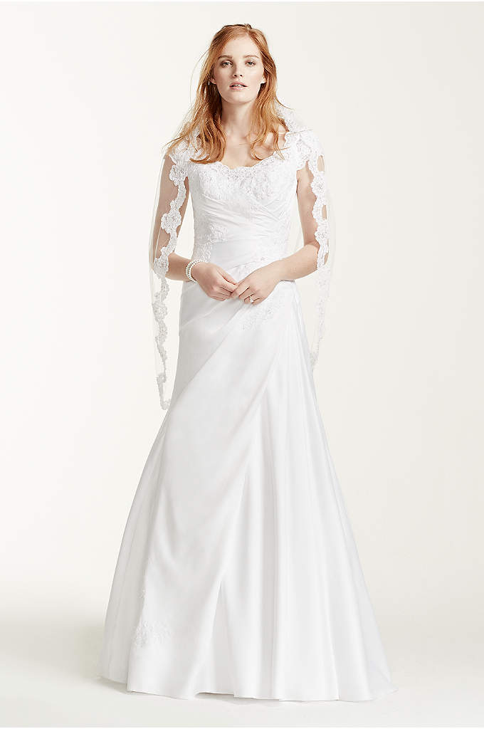 Satin Beaded Lace Off the Shoulder Wedding Dress - Breathtakingly beautiful, this off the shoulder cap sleeve