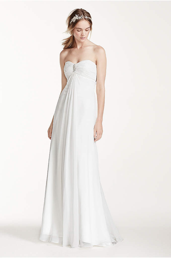 As-Is Strapless A-Line Wedding Dress with Ruching - Simple yet elegant, the perfect gown for an