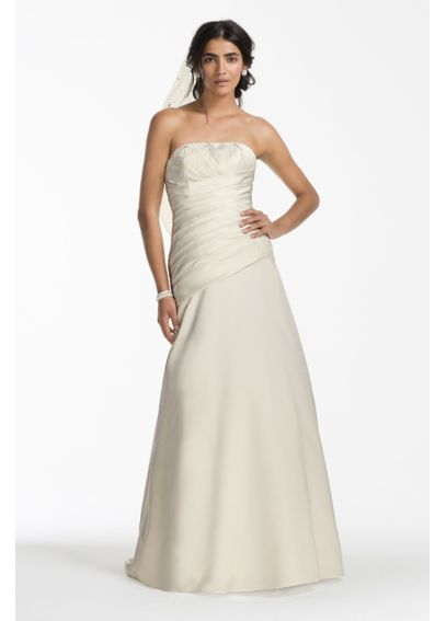 Satin A-line Wedding Dress with Ruched Bodice  AI10043182