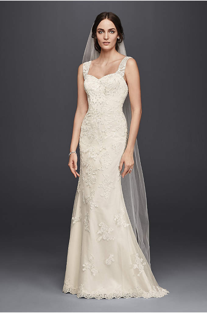 As-Is Tulle Lace Wedding Dress with Tank Straps - It doesn't get more romantic than allover beaded