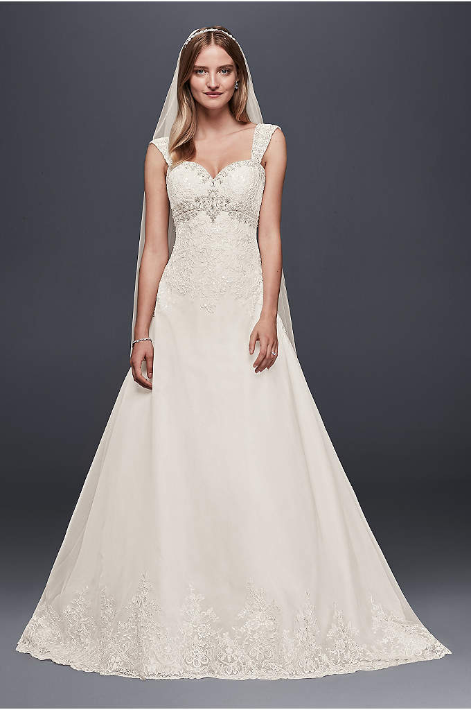 As-Is Organza Wedding Dress with Removable Straps - This empire-waist A-line wedding dress is adorned with