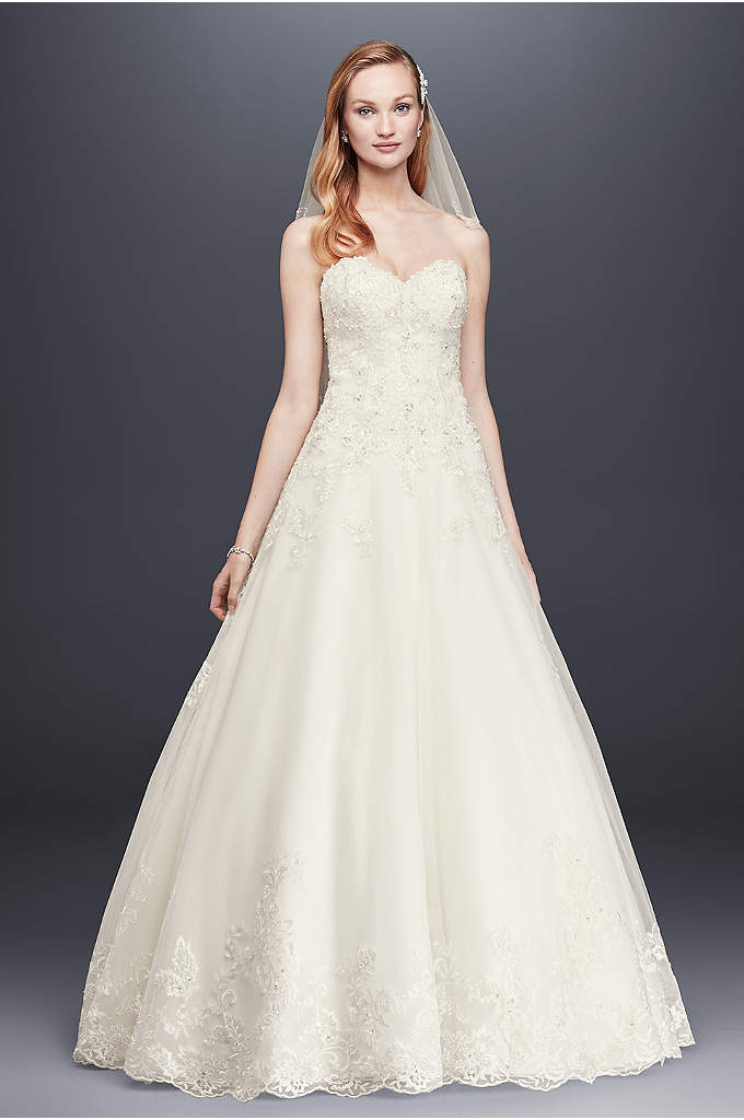 As-Is Beaded Lace-Tulle Ball Gown Wedding Dress - This romantic ball gown features beaded lace appliques