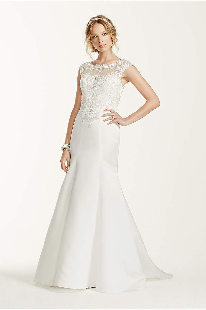 Jewel Cap Sleeve Illusion Neck Wedding Dress - This cap sleeve satin trumpet gown is on