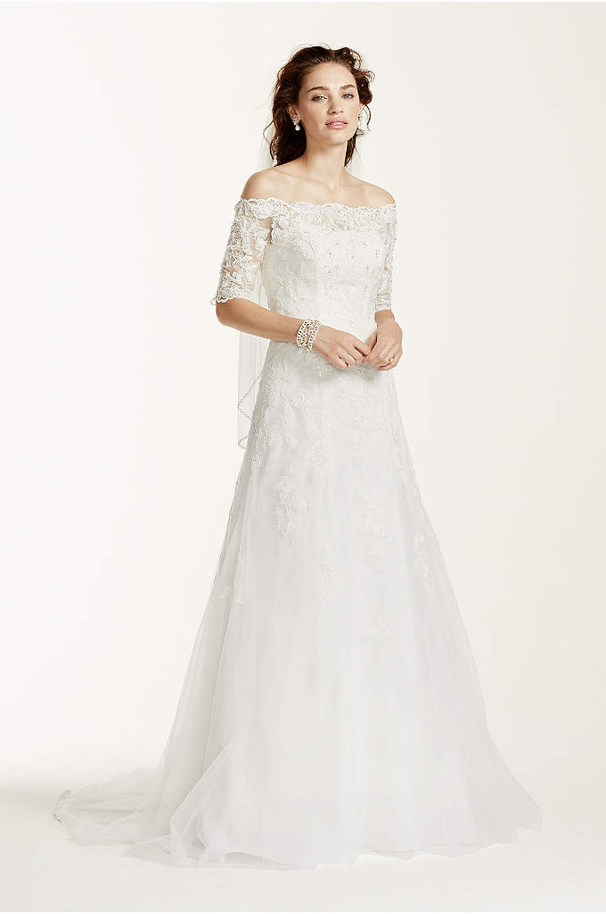 Off The Shoulder Lace Wedding Dress with Sleeves - This gorgeous Jewel Collection trumpet gown with modern