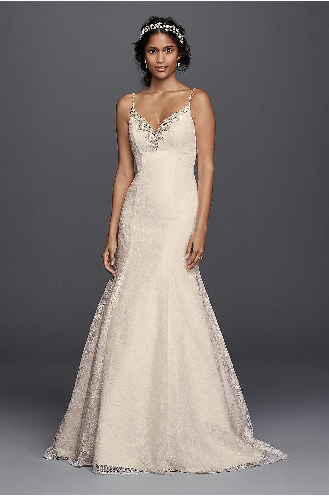 As-Is Allover Lace Beaded Trumpet Wedding Dress - Glamorous and alluring, this lace trumpet wedding dress