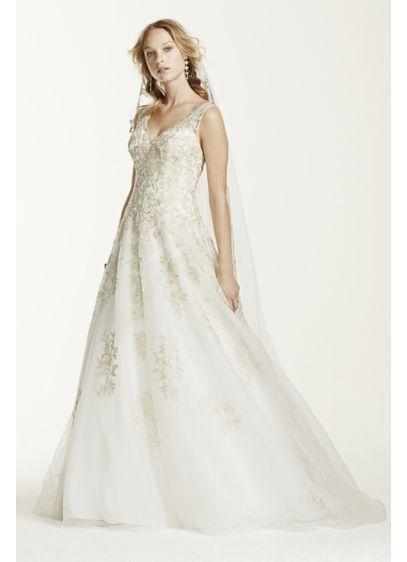 As Is Tank Tulle V Neck Beaded Wedding Dress