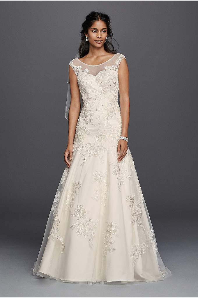 As-Is Tulle Aline Wedding Dress with Lace Applique - This A-line wedding dress was designed with an