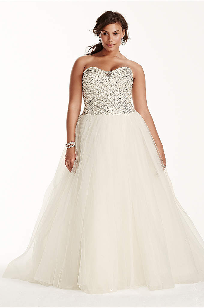 Jewel Tulle Plus Size Wedding Dress with Crystals - A bride can always use a little extra