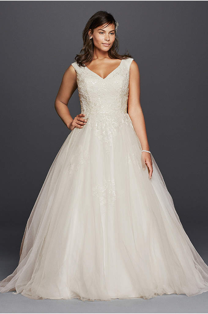 As-Is Plus Size Tank Tulle Wedding Dress - This classic ball gown wedding dress is one
