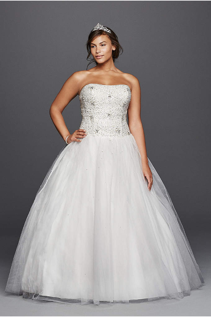 A line beaded tulle plus size wedding dress david 39 s bridal for Plus size after wedding dress