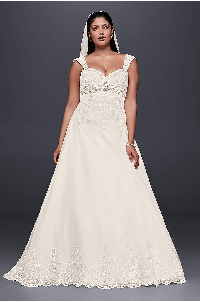 As-Is Plus Size Wedding Dress with Removable Strap - This empire-waist plus size A-line dress is adorned