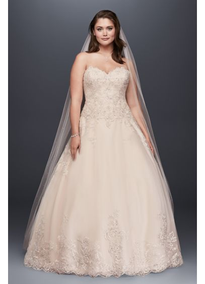 As is plus size wedding dress with beaded details david for Antique rose wedding dress