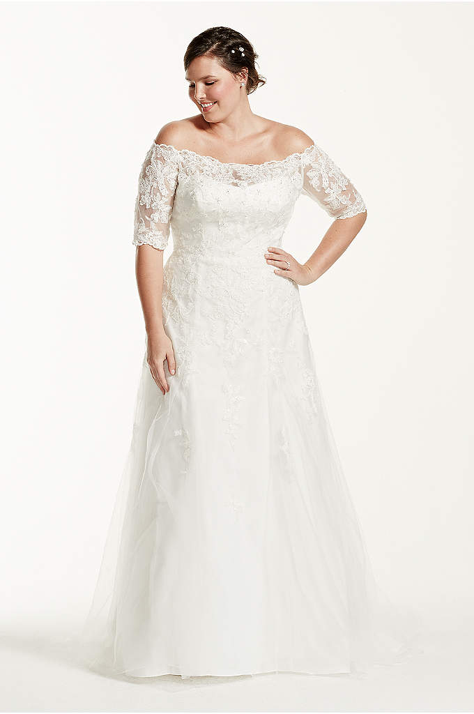 As Is 3 4 Sleeveplus Size Wedding Dress This Gorgeous A Line