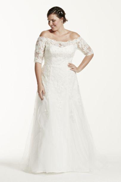 as-is 3/4 sleeve plus size wedding dress | david's bridal