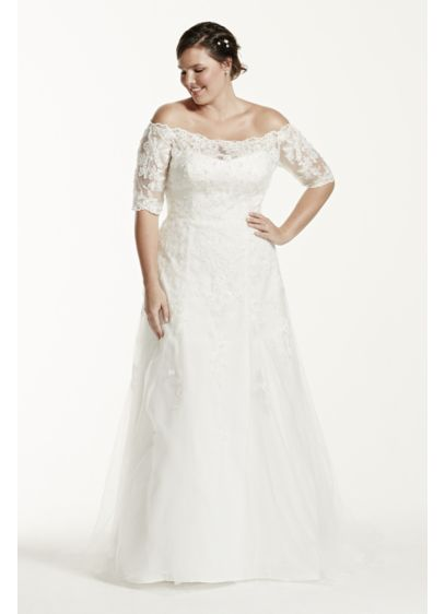 Plus Size Wedding Dresses 3 4 Sleeve : As is sleeve plus size wedding dress david s bridal
