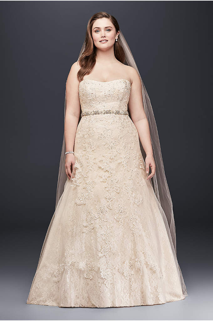 As-Is Lace A-Line Beaded Plus Size Wedding Dress - Add drama to your wedding day look with