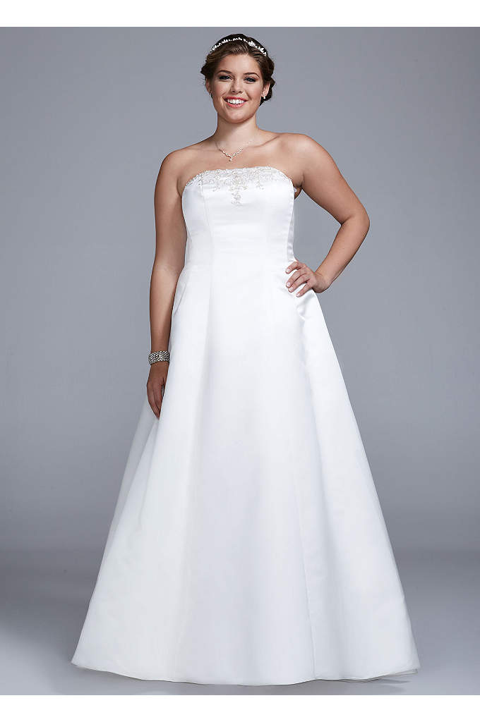 Strapless Satin A-line with Beaded Lace Detail - Strapless satin A-line gown with beaded lace detail.
