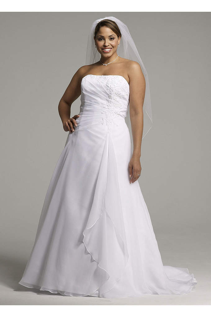 Chiffon A-line Gown with Side Draped Bodice - Chiffon A-line gown with side draped bodice, beaded