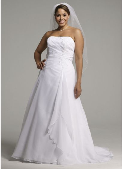 Chiffon a line gown with side draped bodice davids bridal for Side draped wedding dress