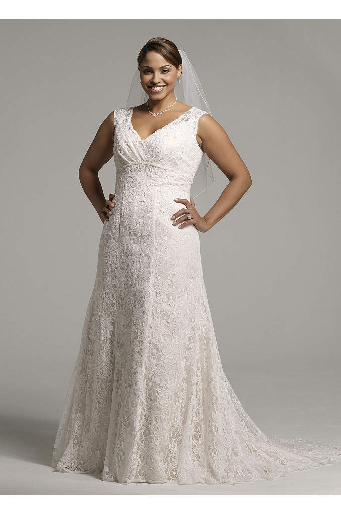 All Over Beaded Lace Trumpet Gown - Allover beaded lace trumpet gown with empire waist