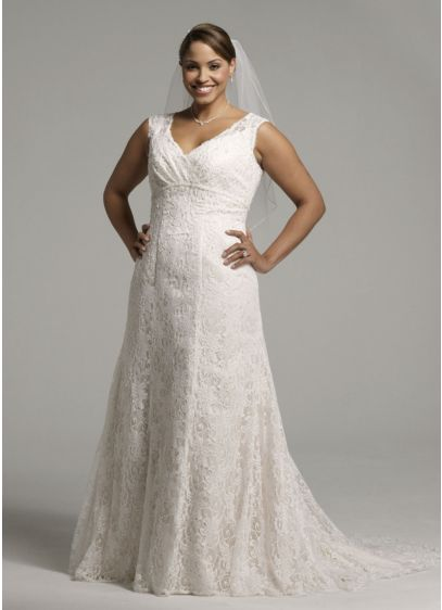 All over beaded lace trumpet gown davids bridal for All over beaded wedding dress