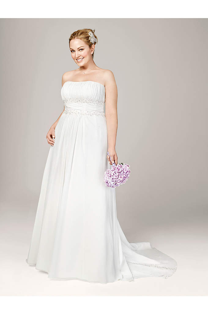 Chiffon A-line with Beaded Lace on Empire - Beautifully detailed, fitted bodice flows into a soft