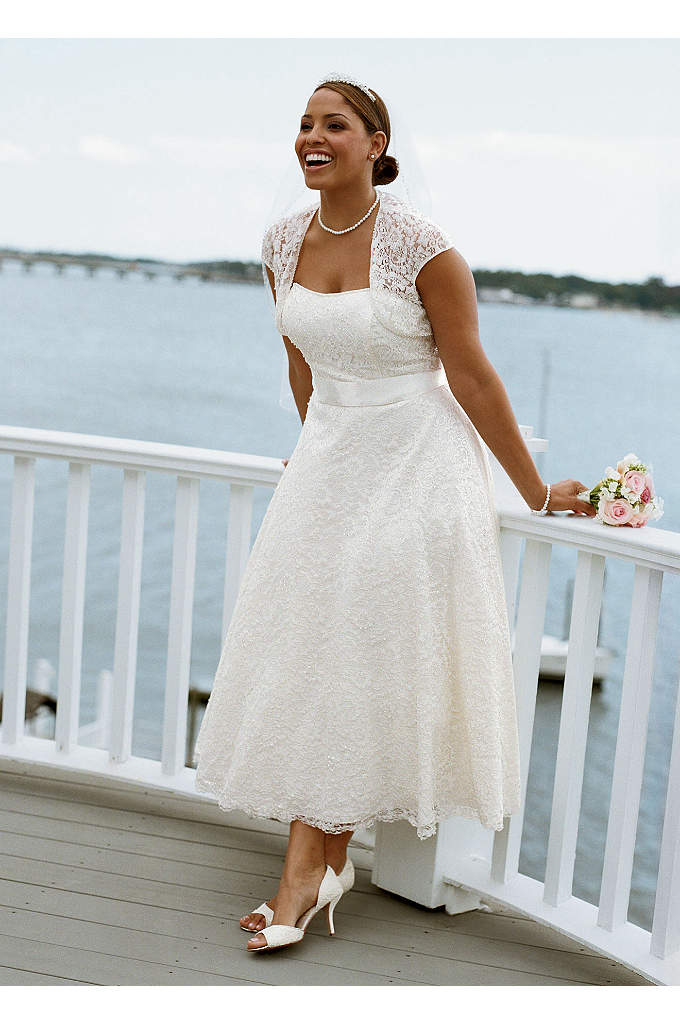 Strapless Tea-Length Gown with Cap Sleeve Shrug - This contemporary ensemble offers an array of beautiful