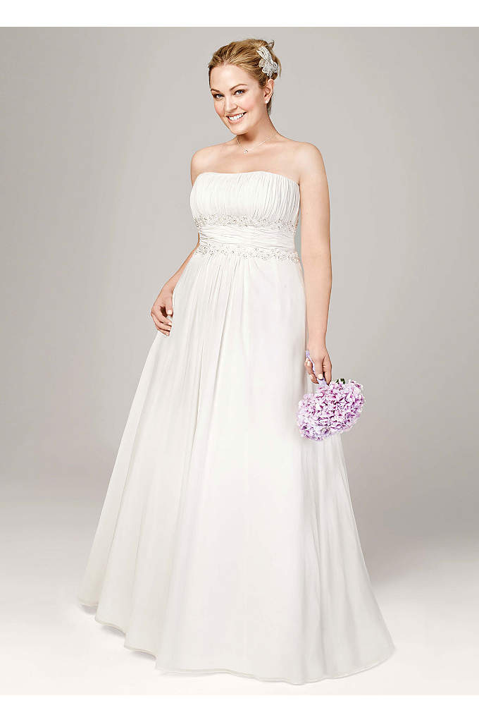 Chiffon Soft Gown with Beaded Lace on Empire - Beautifully detailed, fitted bodice flows into a soft