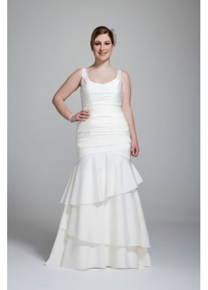 Taffeta Scoop Neck Ruched Bridal Gown with Tiering AI13012543