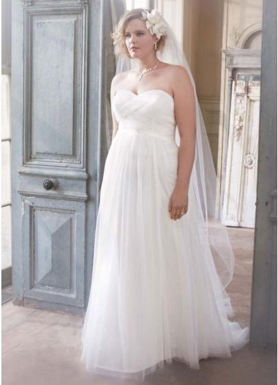 Dot tulle empire waist soft wedding gown david 39 s bridal for Empire waist tulle wedding dress