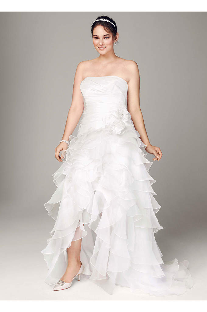 Strapless Taffeta High Low Ruffle Skirt Gown - Ultra chic and over-the-top, this strapless taffeta gown