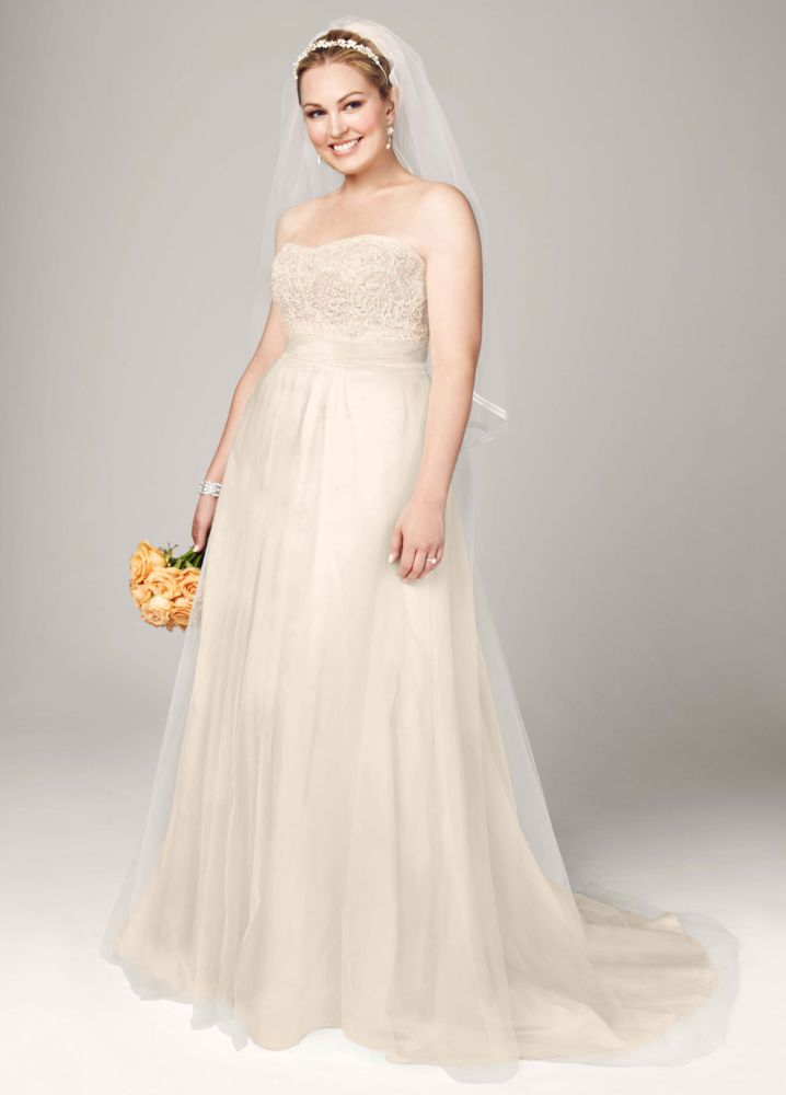 Sample strapless a line beaded lace tulle wedding dress for David s bridal tulle wedding dress