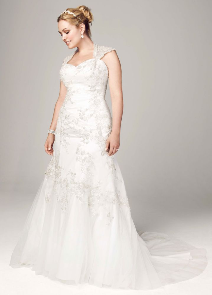 Sample Tulle Over Satin Cap Sleeve Trumpet Wedding Dress
