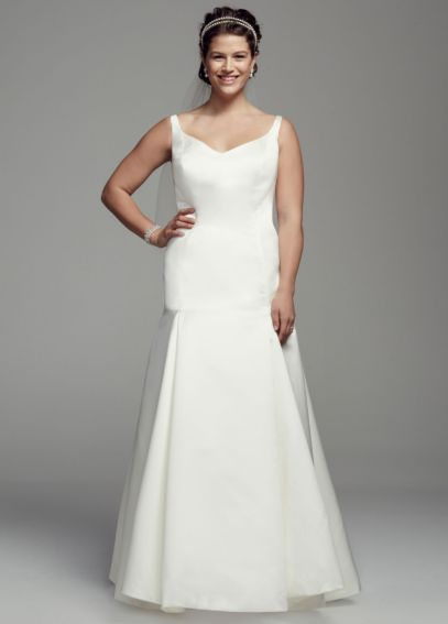 Satin Trumpet Button Back Plus Size Wedding Dress AI13012705
