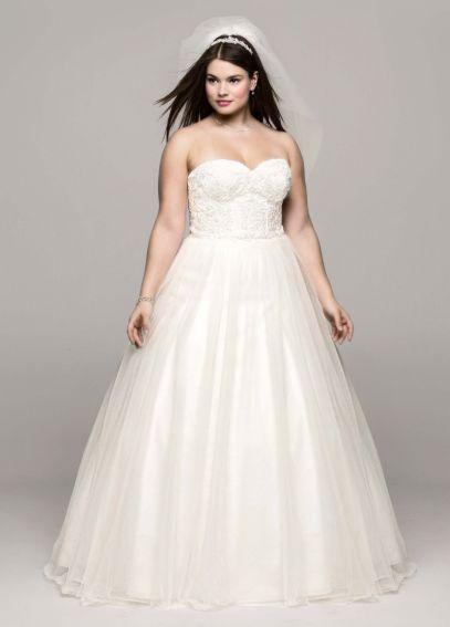 Soft tulle lace corset plus size wedding dress davids bridal for Corset wedding dresses plus size