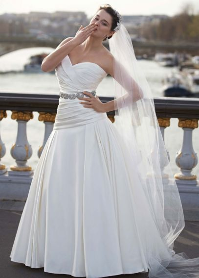 Strapless Satin A Line Gown with Ruched Bodice AI13012729