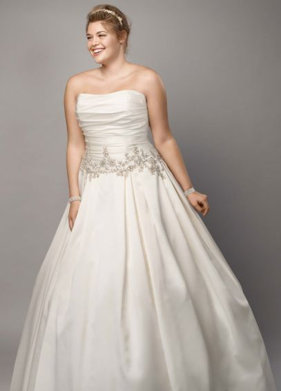 Mikado Plus Size Wedding Dress with Beaded Waist AI13012733