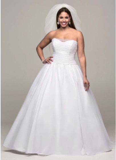 Ruched corset back tulle plus size wedding dress davids for Corset wedding dresses plus size
