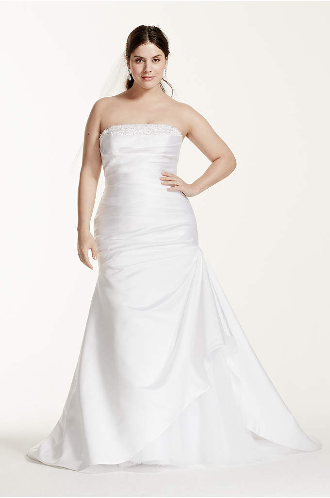 As-Is Satin Trumpet Plus Size Wedding Dress - You will look sensational coming and going in