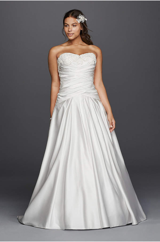 As-Is Satin A-Line Beaded Plus Size Wedding Dress - Lustrous satin sets the stage for a glamorous