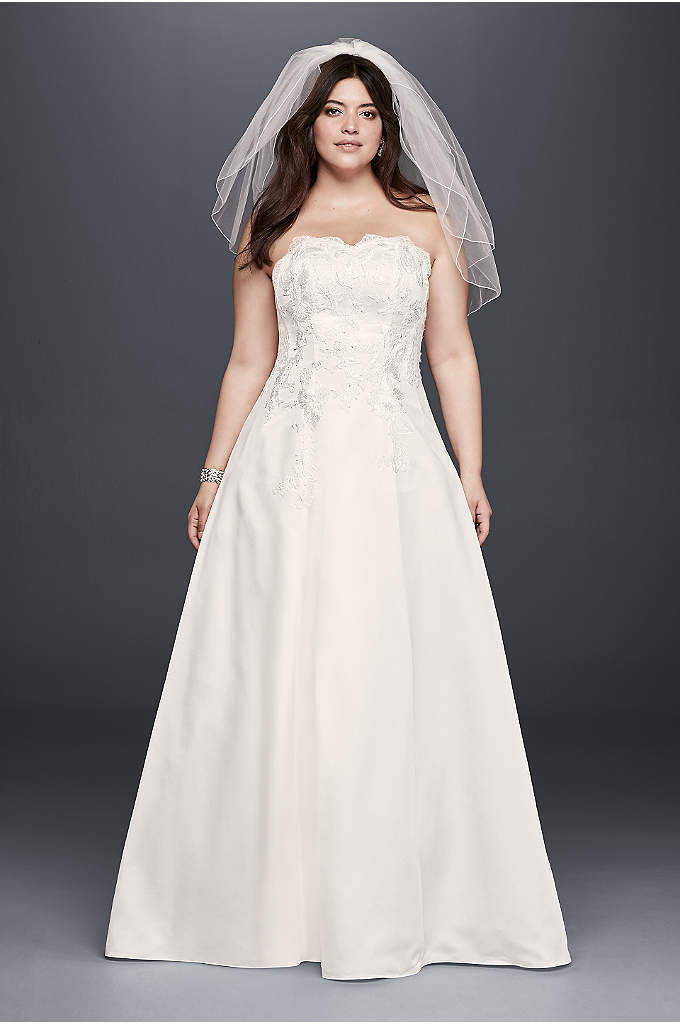 As-Is Appliqued Satin Plus Size Wedding Dress - This plus size A-line wedding dress is the