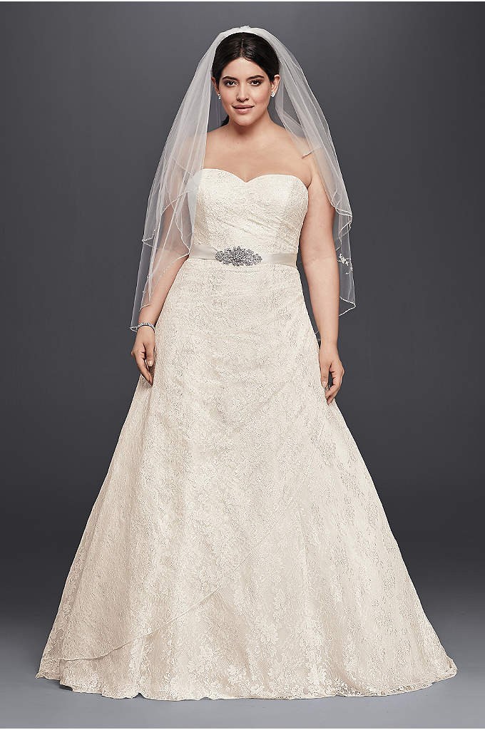As-Is Allover Lace Plus Size A-Line Wedding Dress - Looking for the perfect romantic customizable look? Look