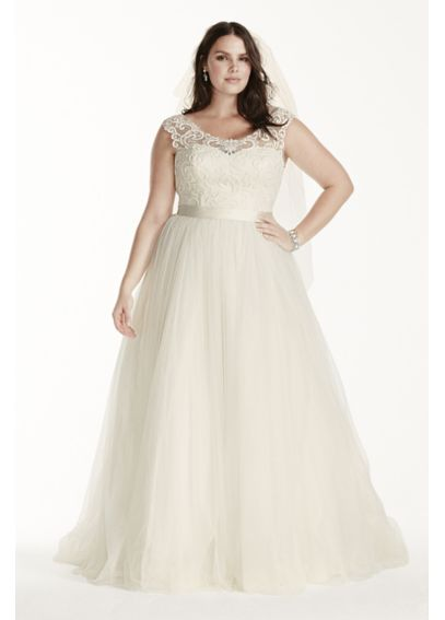 As-Is Tulle Plus Size Cap Sleeve Wedding Dress AI13310007