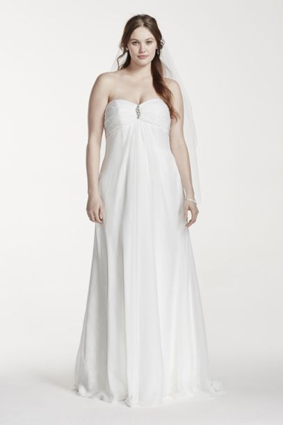 strapless empire waist plus size wedding dress | david's bridal