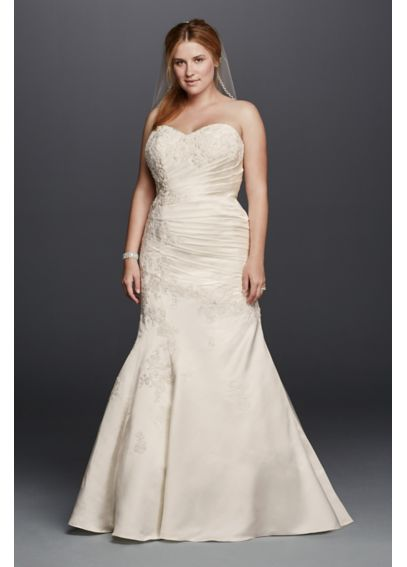 As-Is Satin Trumpet Plus Size Wedding Dress AI13330027