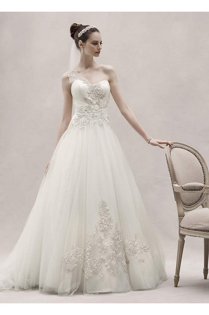One Shoulder Tulle Ball Gown with Lace Appliques - Enchanting and elegant, this one shoulder ball gown