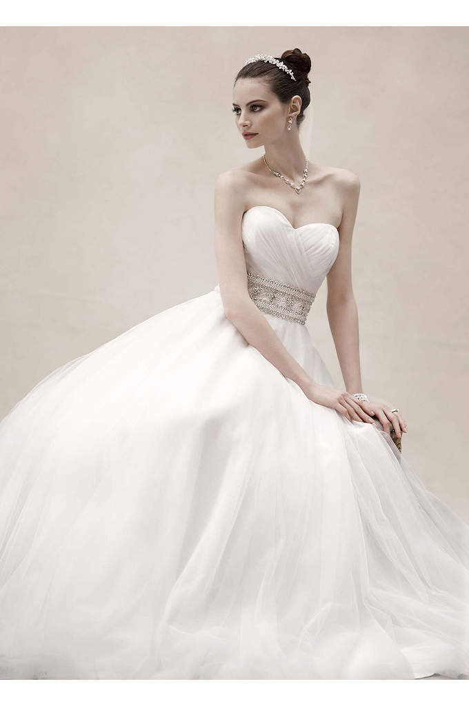 Strapless Tulle Ball Gown with Beaded Belt - This ultra luxe ball gown combines fairy-tale romance
